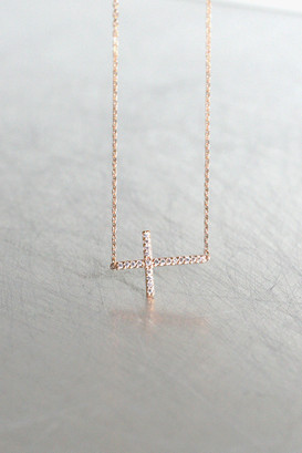 Rose Gold Swarovski Sideways Cross Necklace Sterling Silver from kellinsilver.com