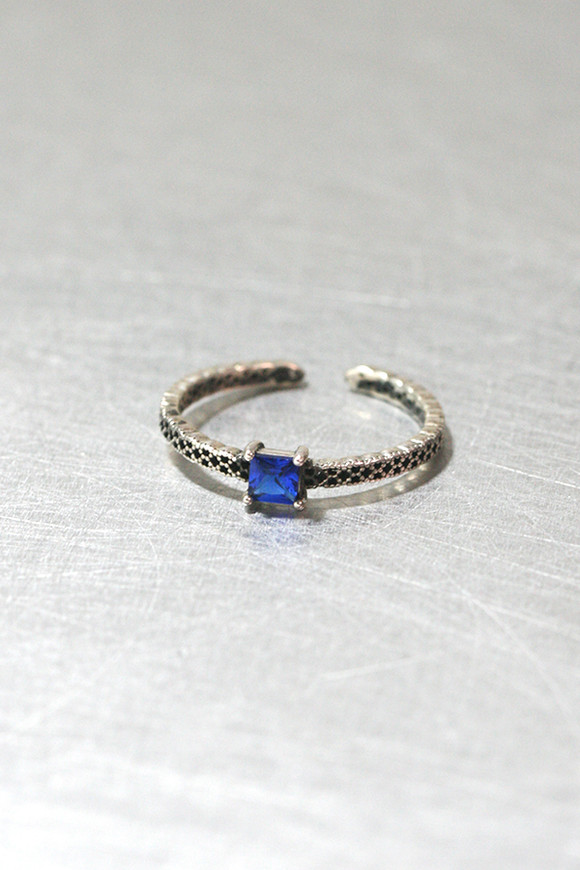 Square Sapphire Oxidized Ring Cuff Sterling Silver from kellinsilver.com