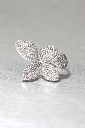CZ Pave Fine Flower Ring Cuff Sterling Silver from kellinsilver.com