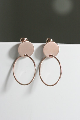 Rose Gold Disc Circle Dangle Earrings Sterling Silver from kellinsilver.com