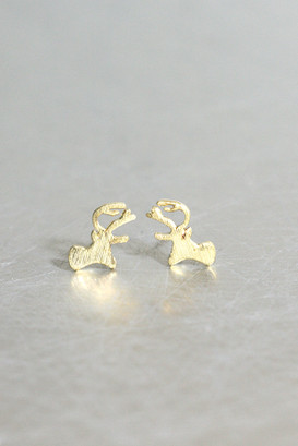 Gold Christmas Rudolph Stud Earrings from kellinsilver.com
