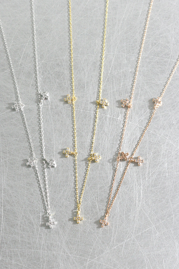 CZ Tiny Cross Charm Necklace Sterling Silver from kellinsilver.com