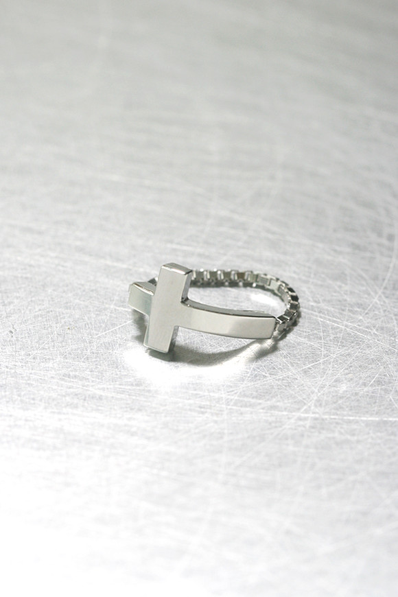 white gold sideways cross ring sterling silver