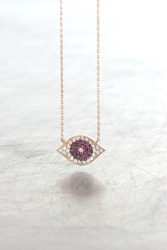 Rose Gold Swarovski Ruby Evil Eye Necklace Sterling Silver from kellinsilver.com