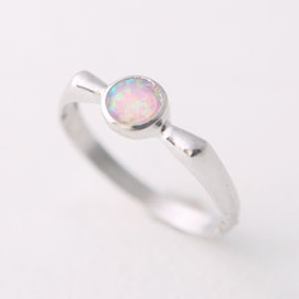 Round Opal Ring Sterling Silver