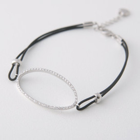 CZ Pave Sterling Silver Ellipse Stretch String Bracelet