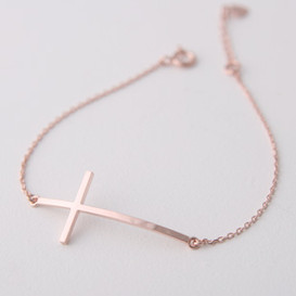 Sterling Silver Sideways Cross Bracelet Rose Gold