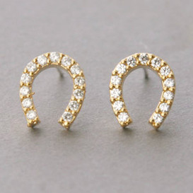 Swarovski Horseshoe Stud Earrings Yellow Gold