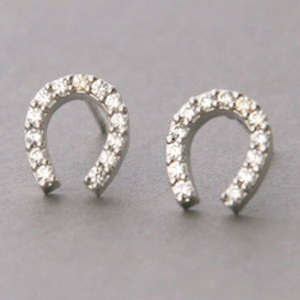 Swarovski Horseshoe Stud Earrings White Gold