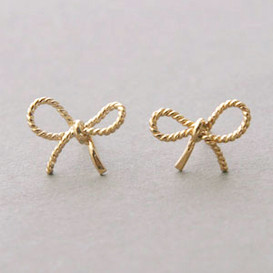 Yellow Gold Bow Forget Me Knot Earrings