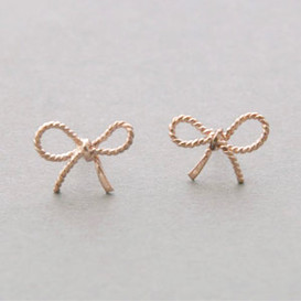Rose Gold Bow Forget Me Knot Earrings