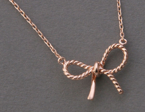 Rose Gold Bow Forget Me Knot Necklace Sterling Silver from kellinsilver.com