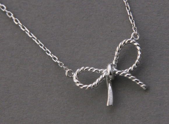 White Gold Bow Forget Me Knot Necklace Sterling Silver from kellinsilver.com