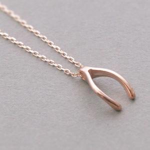 Rose Gold Wishbone Necklace Sterling Silver Kellinsilver Com