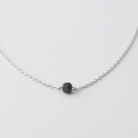 Tiny Onyx Necklace Sterling Silver