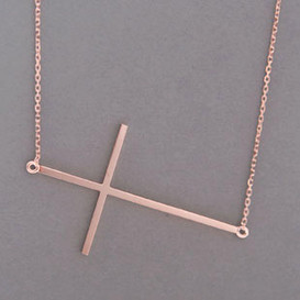 Rose Gold Sideways Cross Necklace Sterling Silver