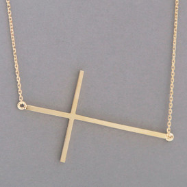 Yellow Gold Sideways Cross Necklace Sterling Silver