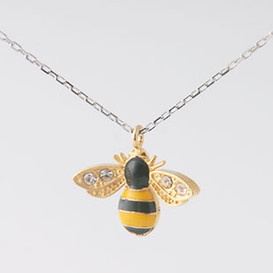 CZ Gold Bumble Bee Necklace Sterling Silver