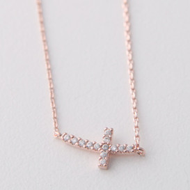 Rose Gold Swarovski Curved Sideways Cross Necklace Sterling Silver
