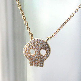 Yellow Gold Swarovski Skull Necklace Sterling Silver