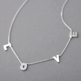 White Gold Love Charm Necklace Sterling Silver from kellinsilver.com