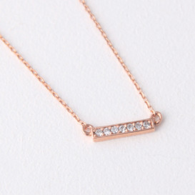 Seven Swarvoski Rose Gold Bar Necklace Sterling Silver
