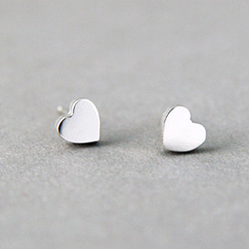 Tiny Heart Earrings Studs Sterling Silver