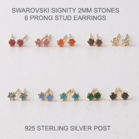 2mm Swarovski Studs Gold Six Craw Earrings ( 10 colors)