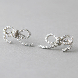CZ Bow Earrings Sterling Silver