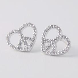 Swarovski Peace Heart Earrings White Gold