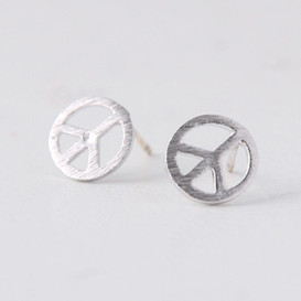 Peace Sign Stud Earrings Silver Post