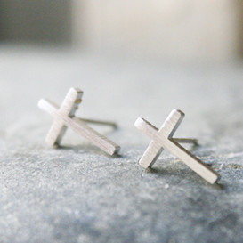 Blushed Silver Cross Stud Earrings