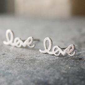 Silver Love Script Earring Studs