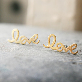 Gold Love Script Earring Studs