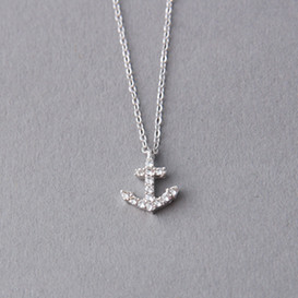 White Gold Swarovski Anchor Necklace Sterling Silver from kellinsilver.com