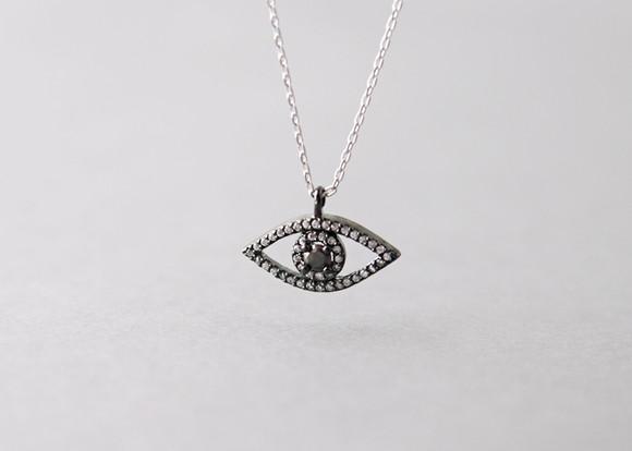 Swarovski Black Evil Eye Necklace Sterling Silver from kellinsilver.com