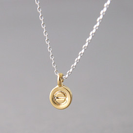 70cm Gold Circle Love Charm Necklace Sterling Silver