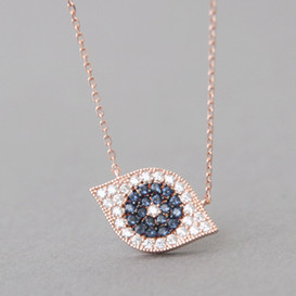 Rose Gold Pave Swarovski Sapphire Evil Eye Necklace Sterling Silver from kellinsilver.com
