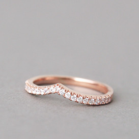CZ Tiara V Ring Rose Gold from kellinsilver.com