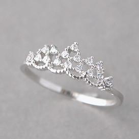 CZ Princess Tiara Ring White Gold from kellinsilver.com