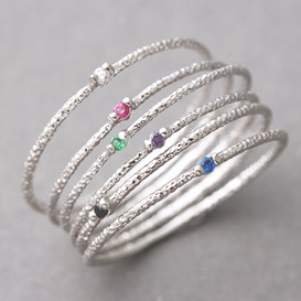 Color Stone Textured Tin Rings White Gold Set of 6 from kellinsilver.com
