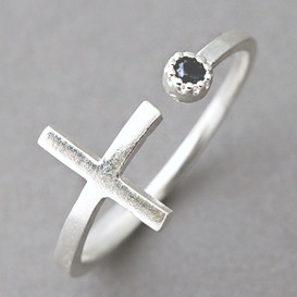 Black CZ Sideways Cross Wrap Ring Sterling Silver
