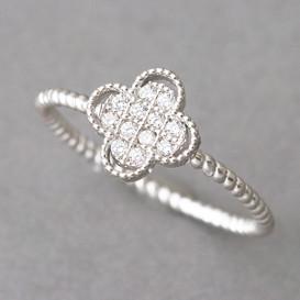 CZ Four Leaf Clover Ring Sterling Silver