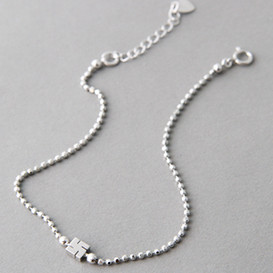 White Gold Cutting Ball Chain Buddhist Swastika Bracelet Sterling Silver