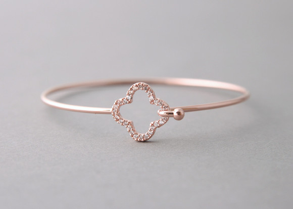 Pave Swarovski Four Leaf Clover Cuff Rose Gold from kellinsilver.com