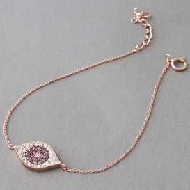 Pave Ruby Swarovski Evil Eye Bracelet Rose Gold from kellinsilver.com