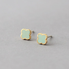 Mint Four Leaf Clover Earrings Studs from kellinsilver.com