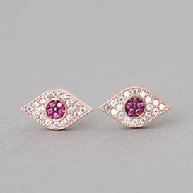 Pave Ruby Swarovski Evil Eye Stud Earrings Rose Gold