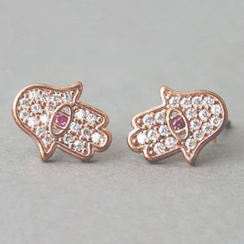 Ruby Rose Gold Hamsa Stud Earrings Silver Post