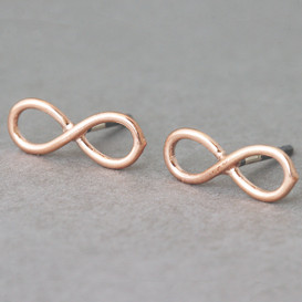 Rose Gold Infinity Earrings Stud Silver Post